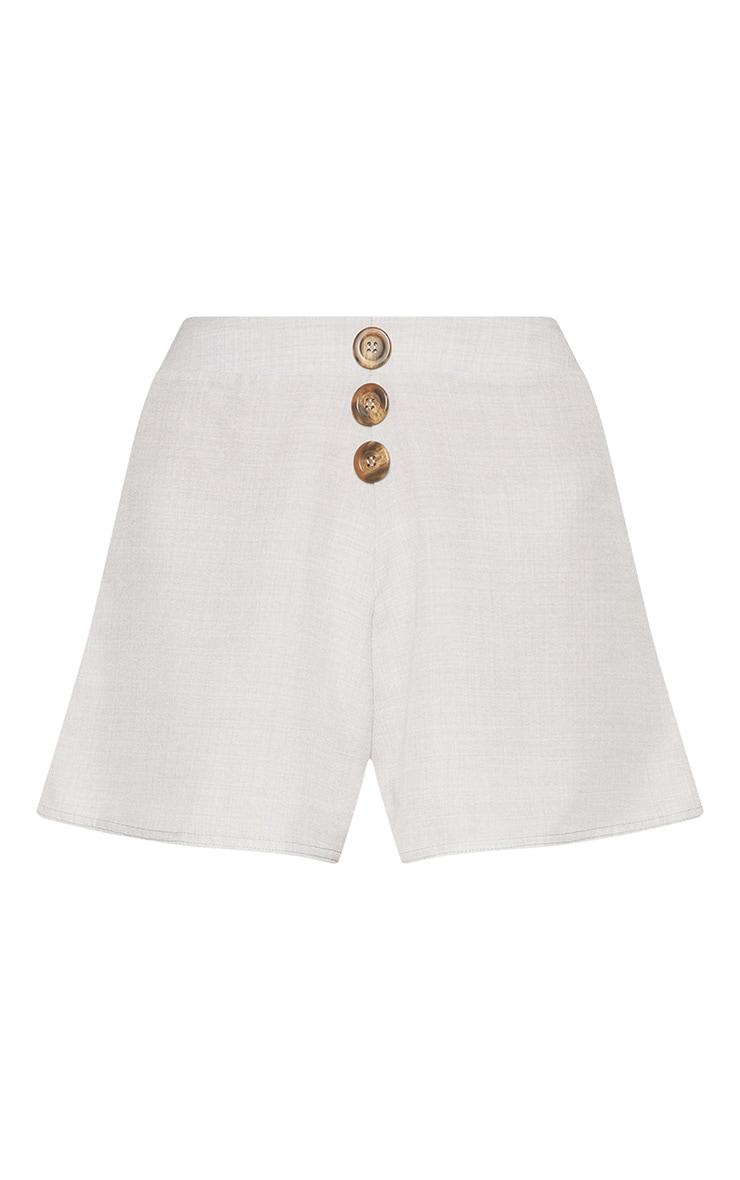 Grey Button Detail Shorts 3