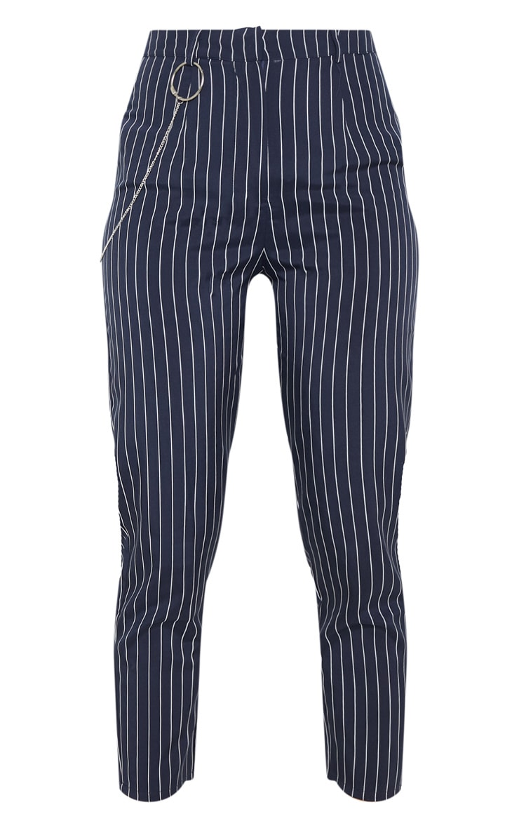 Navy Pinstripe Chain Detail Slim Leg Pants 3
