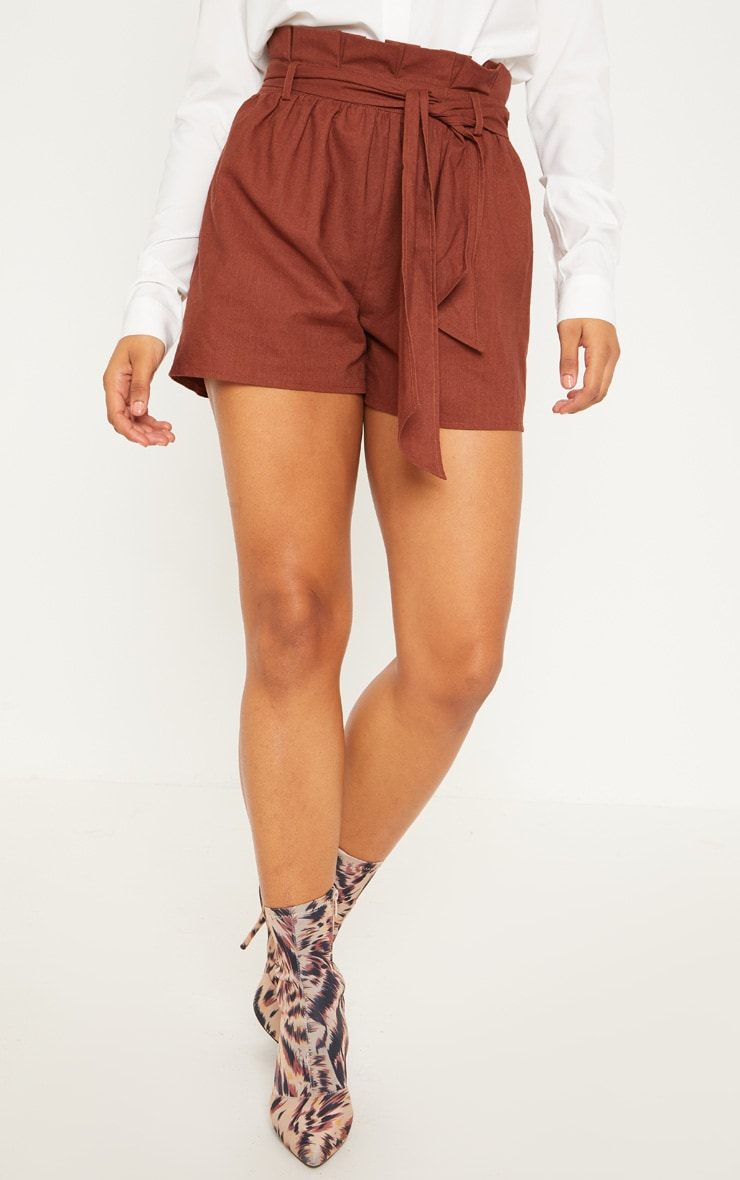 Tall Chocolate Brown Paperbag Tie Waist Shorts 2