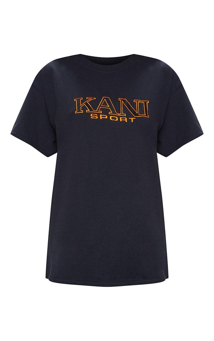 KARL KANI Black Embroidered T Shirt  5