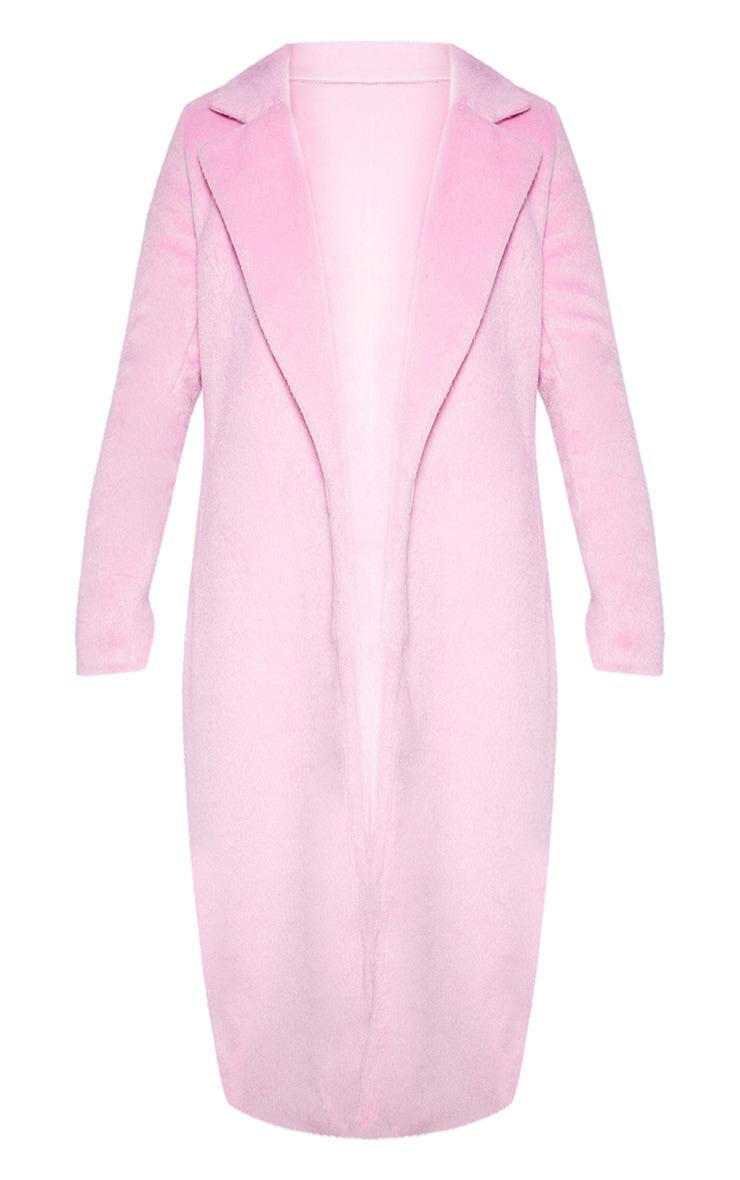 Long manteau  rose en laine 4