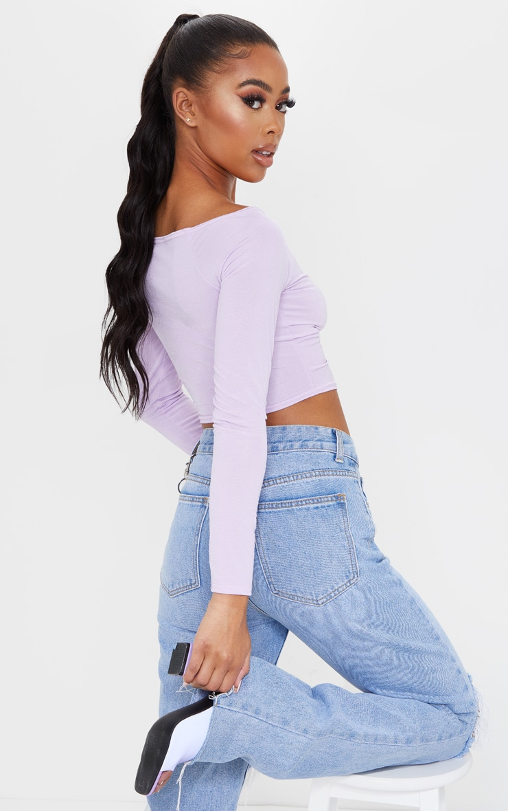 Lilac Slinky Ruched Front Long Sleeve Crop Top 2