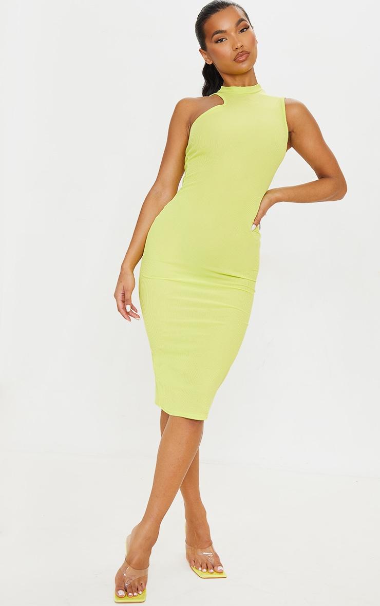 Robe mi-longue vert citron côtelée sans manches à col haut 1