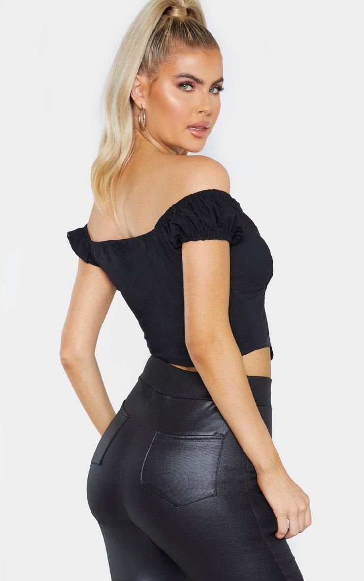 Tall Black Zip Detail Bardot Crop Top 2