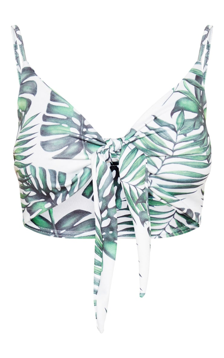 White Leaf Palm Printed Tie Front Strappy Bralet 3