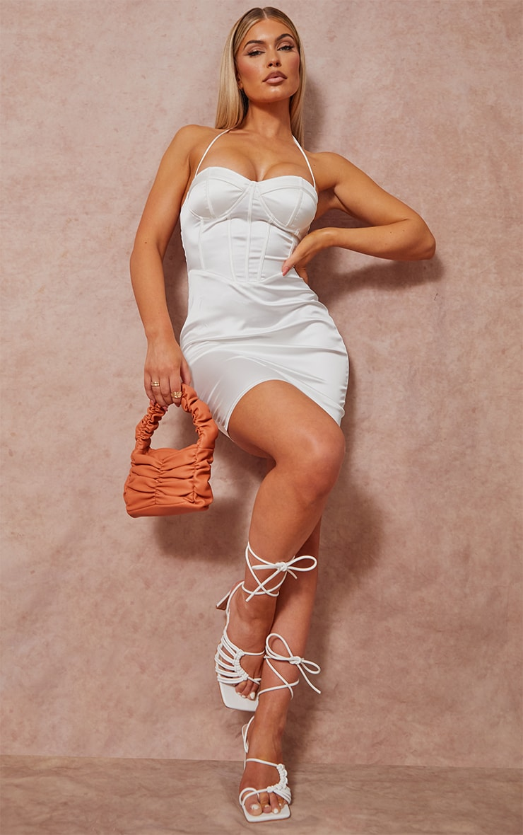 White Strappy Corset Detail Halterneck Bodycon Dress 3