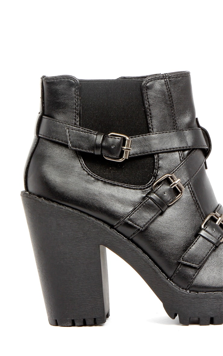 Stacie Leather Chunky Strap Buckle Boots 4