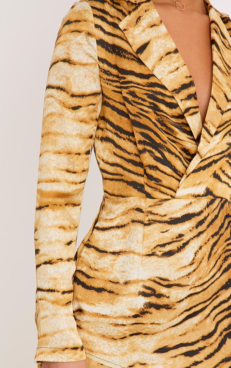Harriett Animal Print Camel Wrap Shirt Dress 5