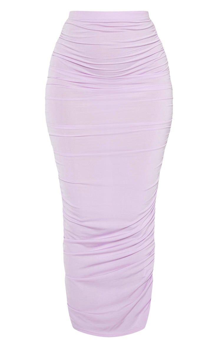 Lilac Second Skin Slinky Ruched Midaxi Skirt 3