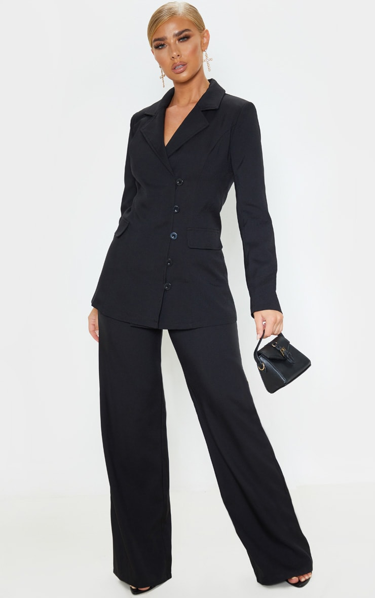 Black Button Detail Fitted Blazer 4