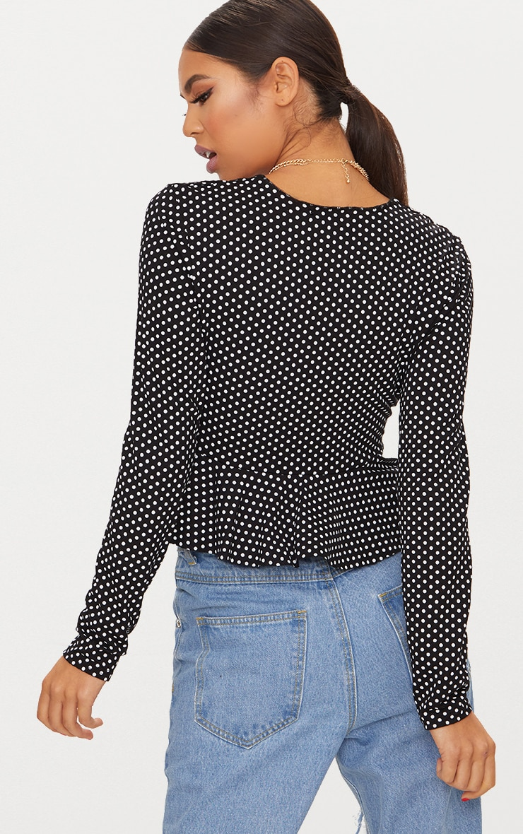 Black Polka Dot Frill Detail Tie Front Crop Top 2