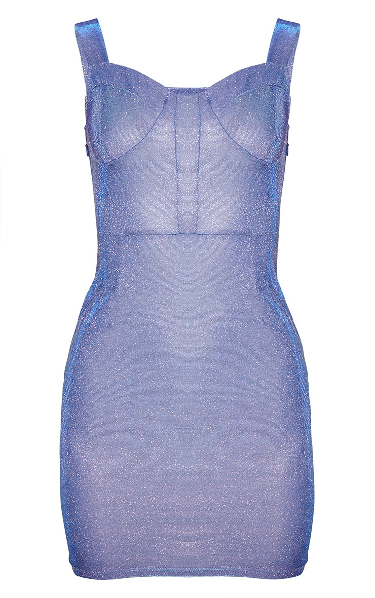 Blue Glitter Thick Strap Cup Detail Bodycon Dress 3