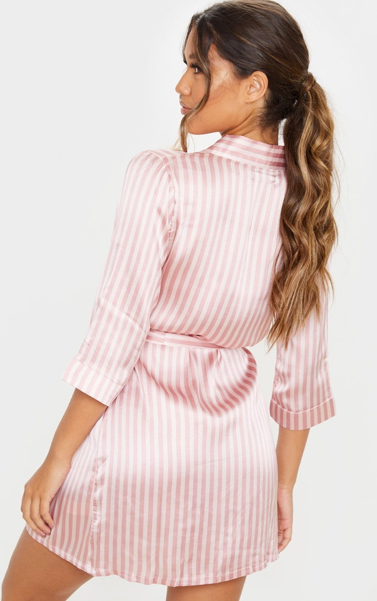 Baby Pink Stripe Satin Robe 2