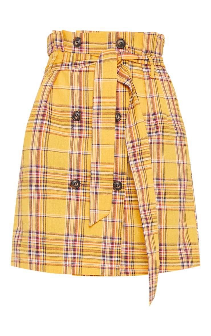 Mustard Check Tie Waist Button  Mini Skirt 3
