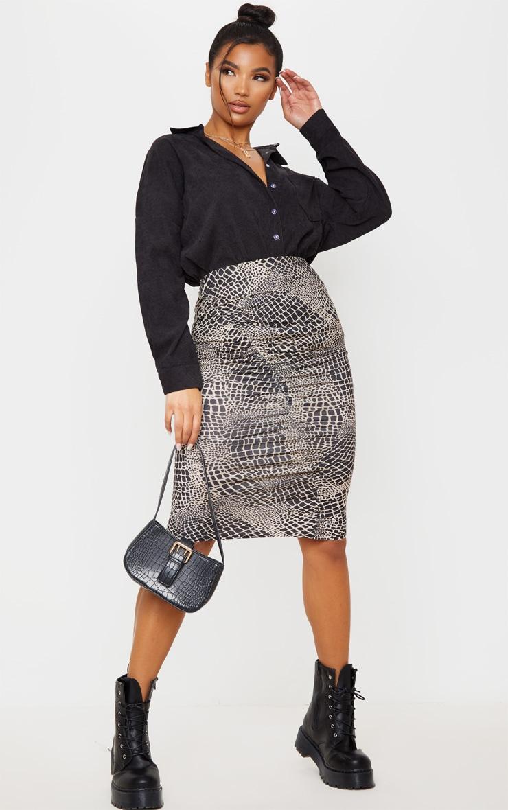 Stone Croc Print Ruched Side Midi Skirt 1