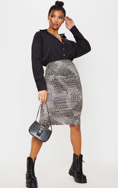 Stone Croc Print Ruched Side Midi Skirt