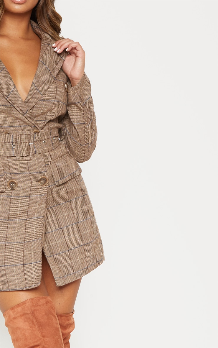 Brown Check Belted Blazer Dress 5