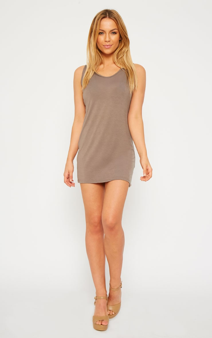Basic Mocha Jersey Mini Dress 3