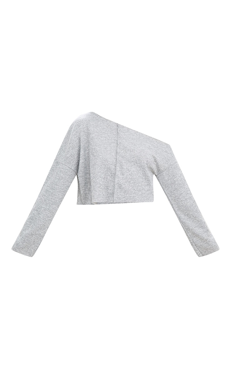 Grey Off Shoulder Long Sleeve Cropped Sweater 5