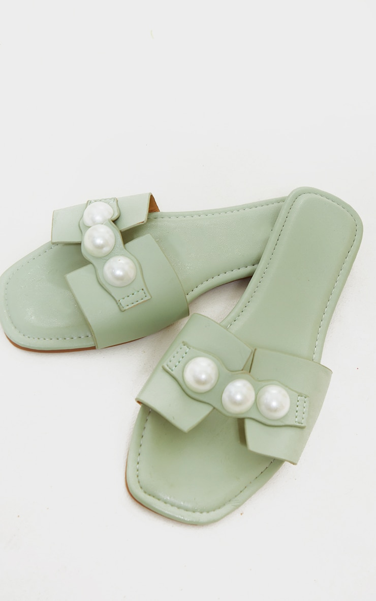 Sage Green PU Pearl Detail Mule Sandals 4