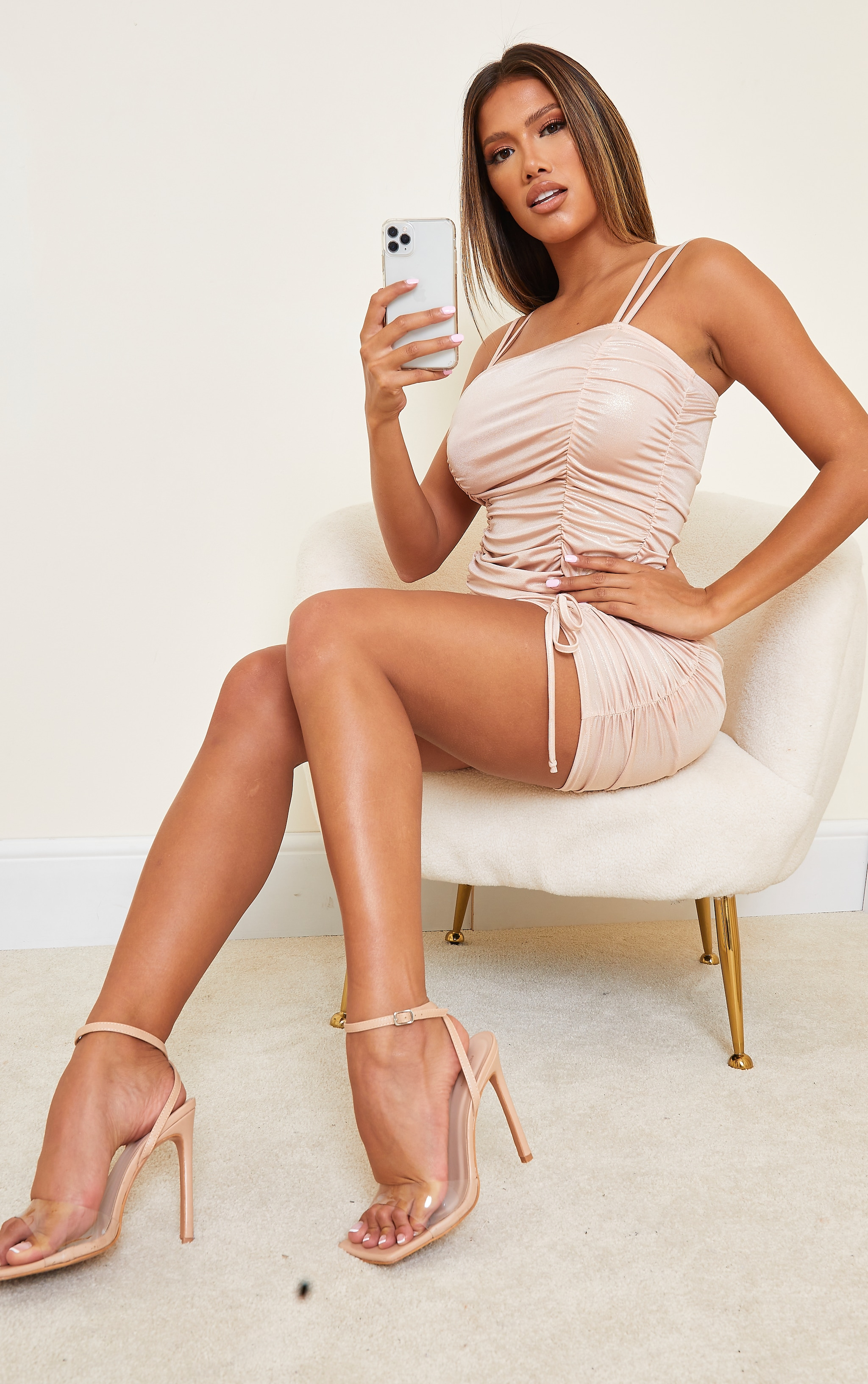 Shape Champagne Metallic Extreme Ruched Strappy Bodycon Dress 3
