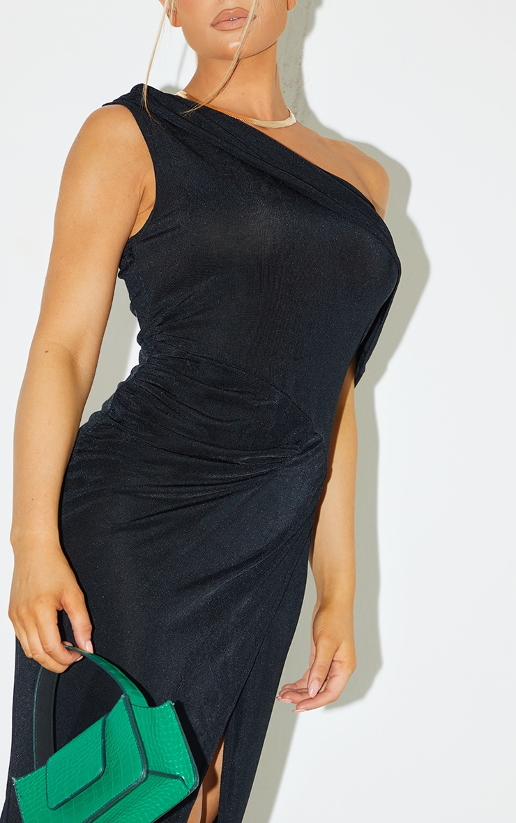 Black Recycled Textured Slinky Off Shoulder Midaxi Dress 4