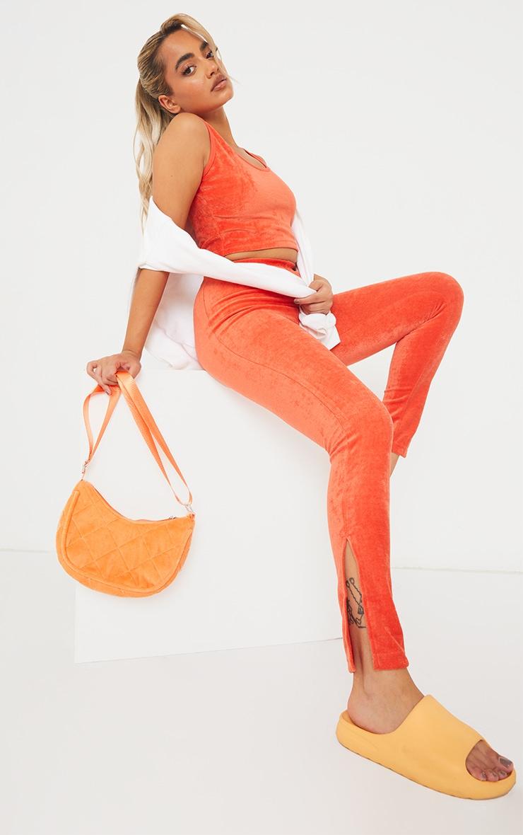 Petite Orange Velour Split Hem Leggings 1