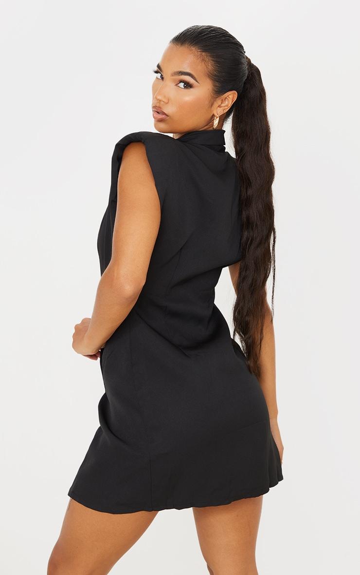 Black Sleeveless Shoulder Pad Blazer Dress 2