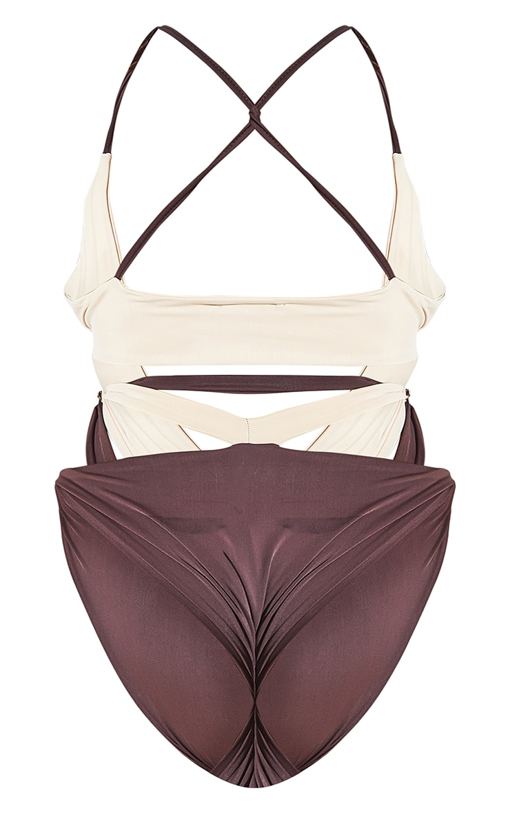 Plus Chocolate Contrast Cut Out Swimsuit 9