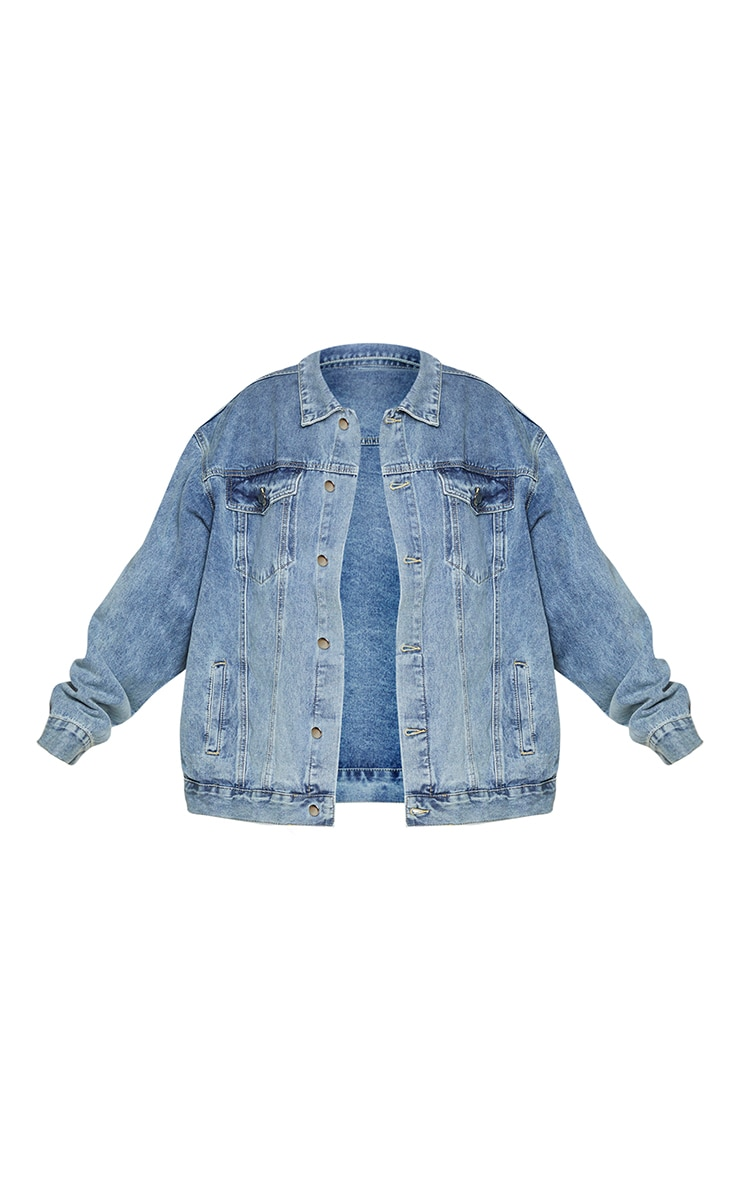 PRETTYLITTLETHING Plus Vintage Wash Oversized Boyfriend Denim Jacket 5