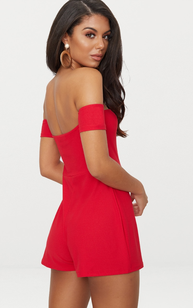 Red Crepe Short Sleeve Bardot Playsuit 2