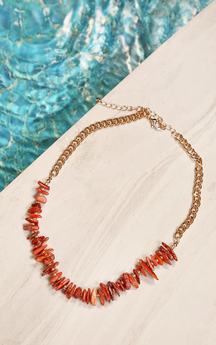 Orange Assorted Shell Bead T Bar Necklace 1