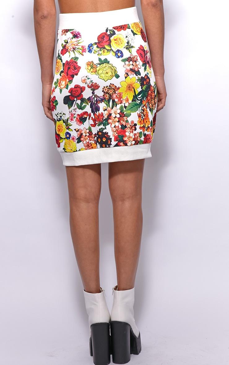 Frankie White Floral Print Silk Skirt 2