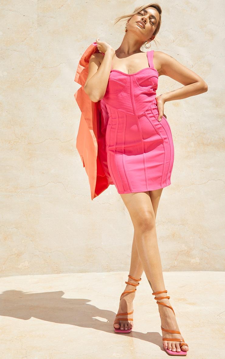 Petite Pink Strappy Corset Detail Dress 1