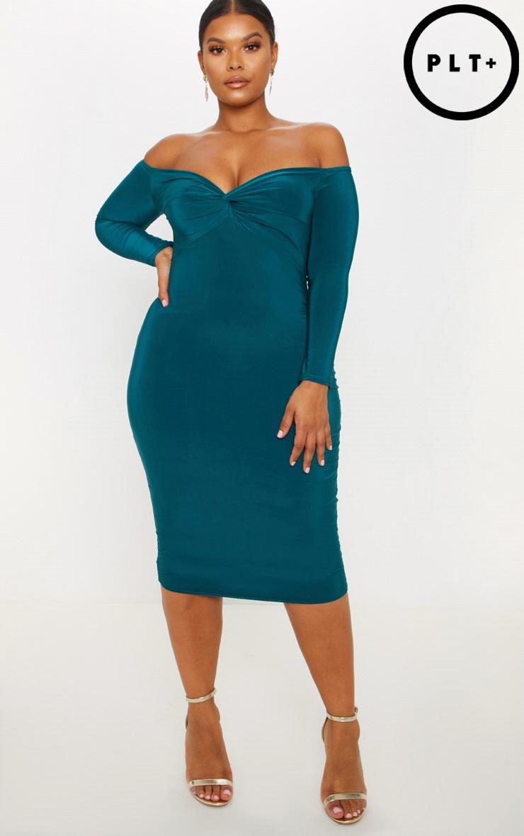 Plus Emerald Green Slinky Bardot Midi Dress by Prettylittlething