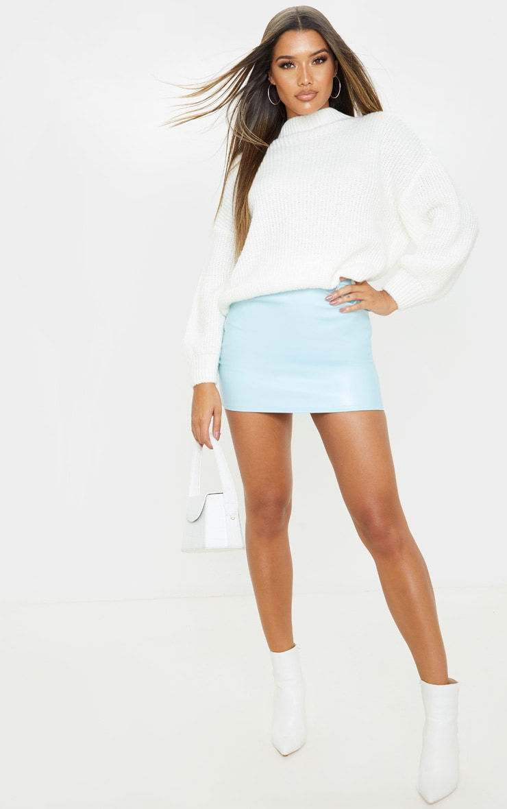 Baby Blue Faux Leather Pocket Detail Mini Skirt  5