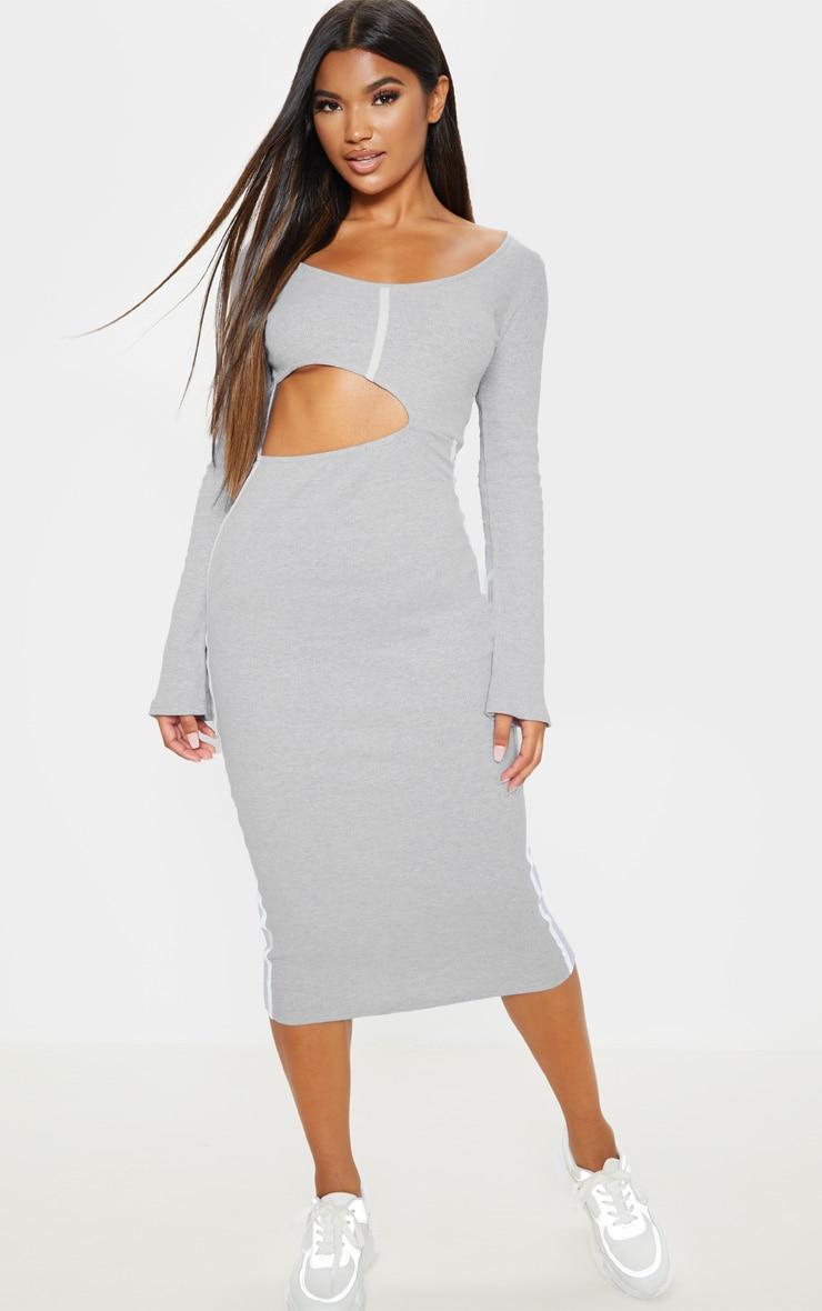 Grey Rib Contrast Trim Cut Out Long Sleeve Midi Dress 4