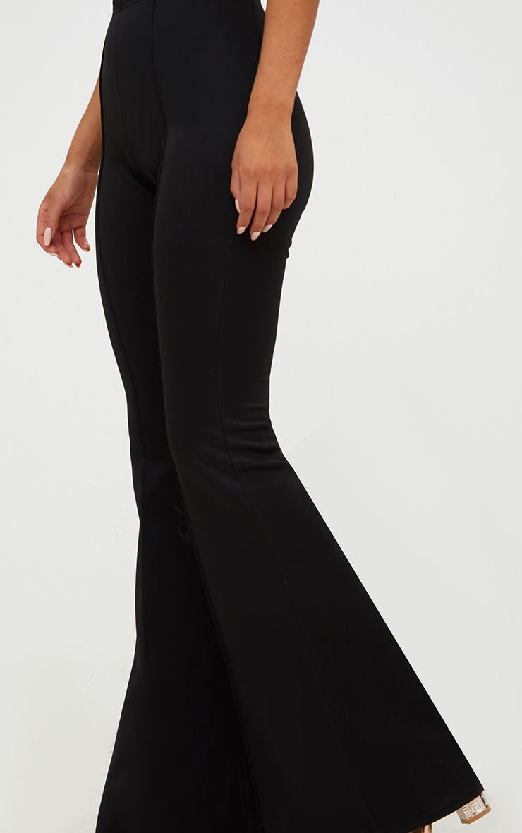Black High Waist Extreme Flare Long Leg Trousers 5