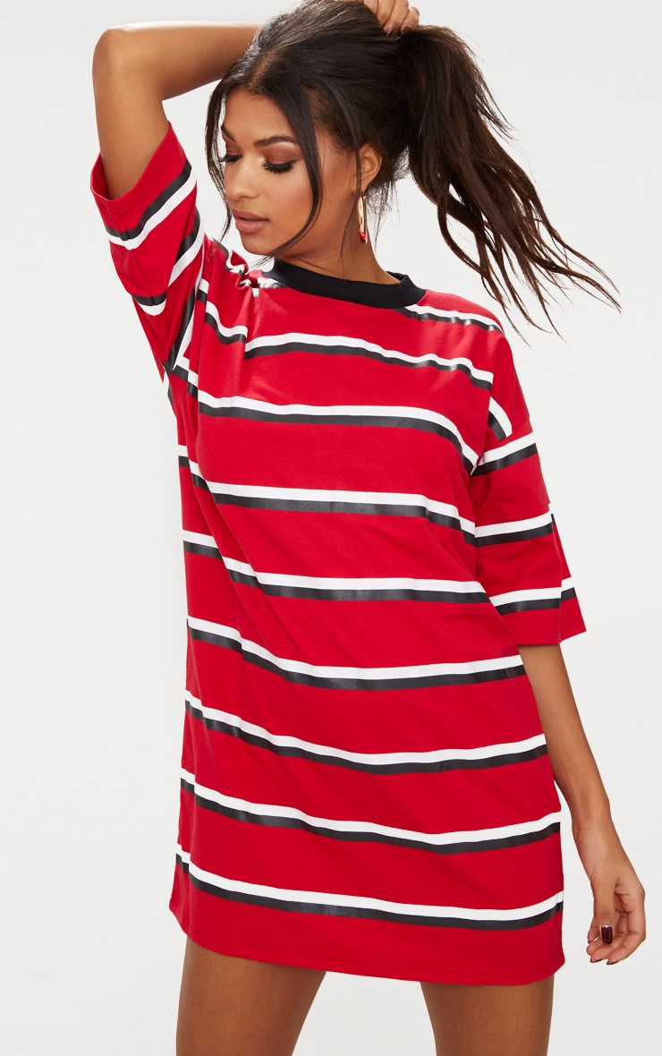 Recycled Red Oversized Contrast Stripe Boyfriend T Shirt Dress 3