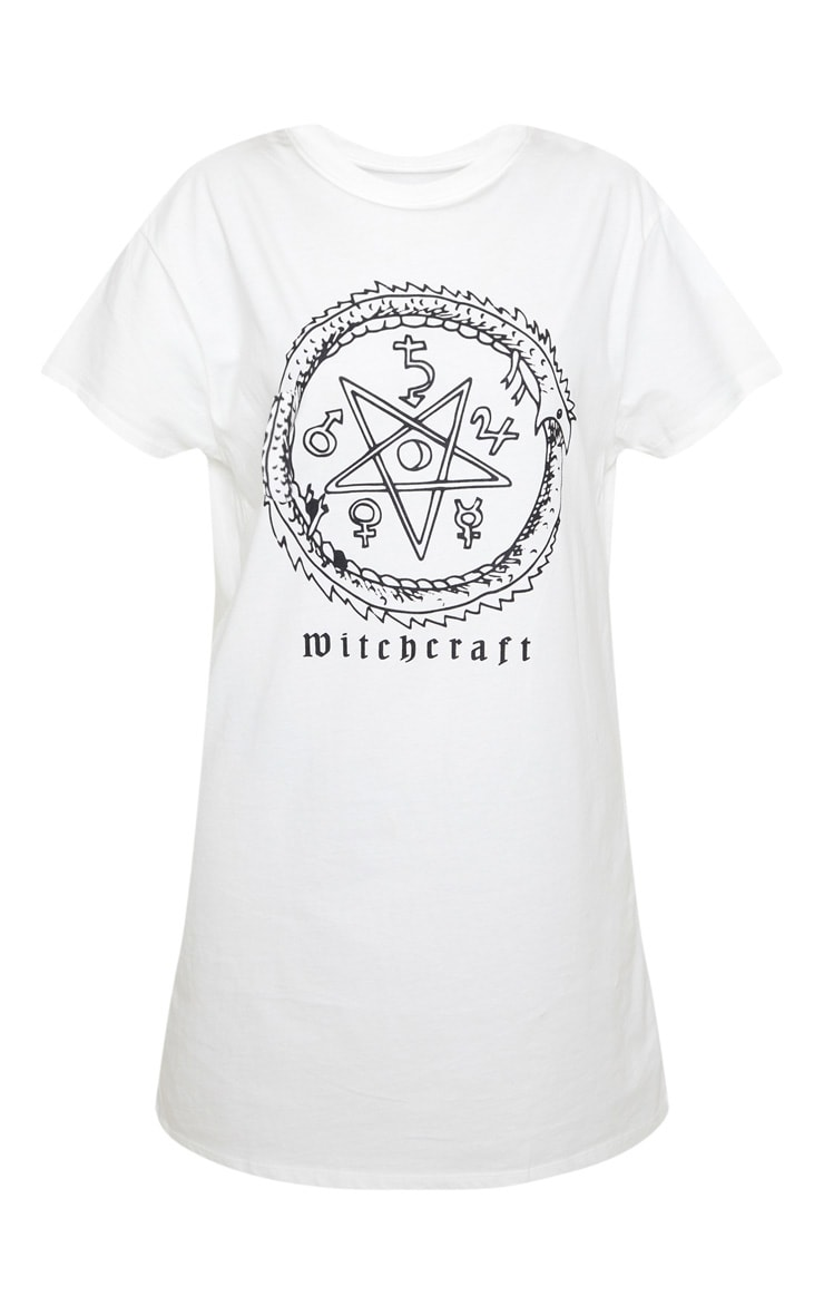 Petite White  Witchcraft  Slogan T Shirt Dress  3