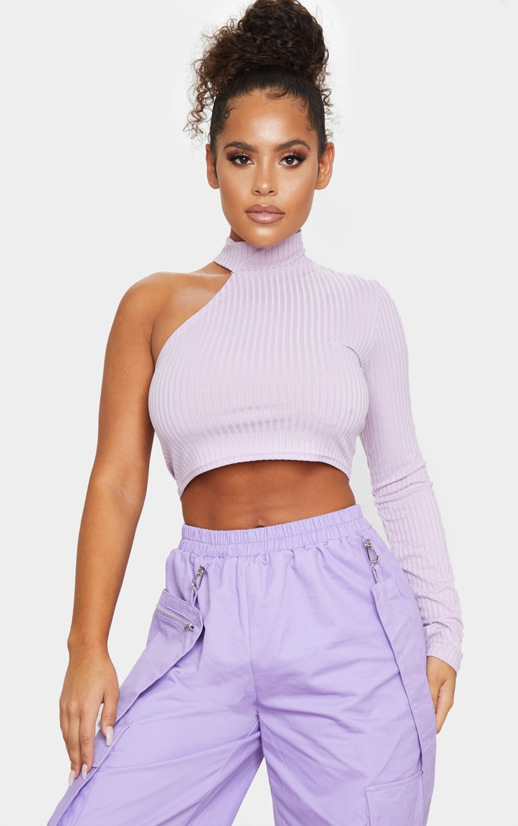 Lilac Cut Out One Sleeve Ribbed Crop Top 1