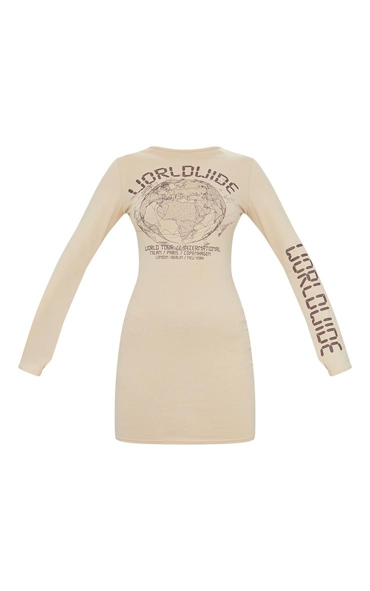 Stone Worldwide Printed Long Sleeve Thumb Hole Bodycon Dress 5