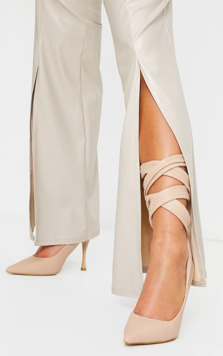 Nude PU Ankle Tie Court Shoe 2
