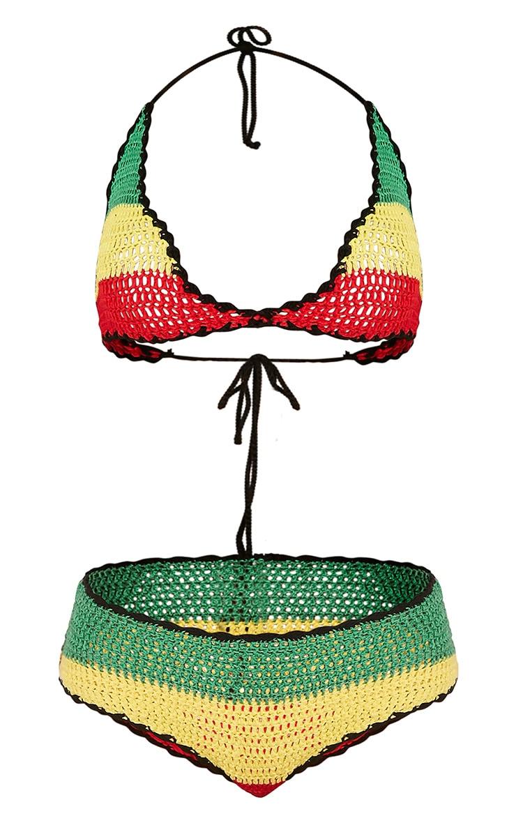Jezzi bikini crocheté à bandes multicolores 3