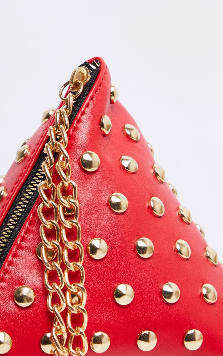 Red PU Studded Pyramid Grab Bag 4