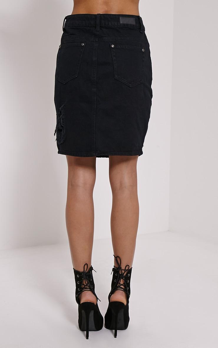 Poppa Black Ripped Denim Skirt 4