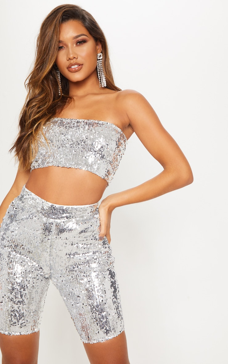 Silver Sequin Bike Shorts 2