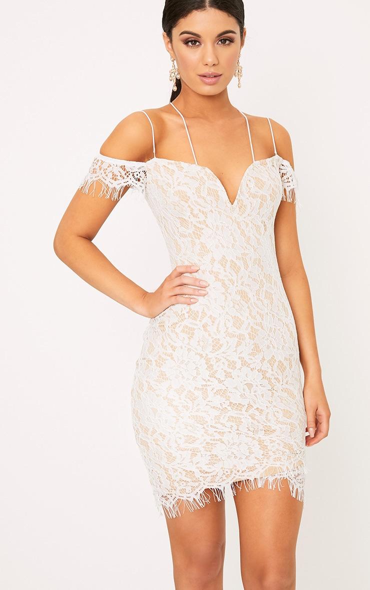 Siah White Lace Double Strap Bodycon Dress | Dresses ...