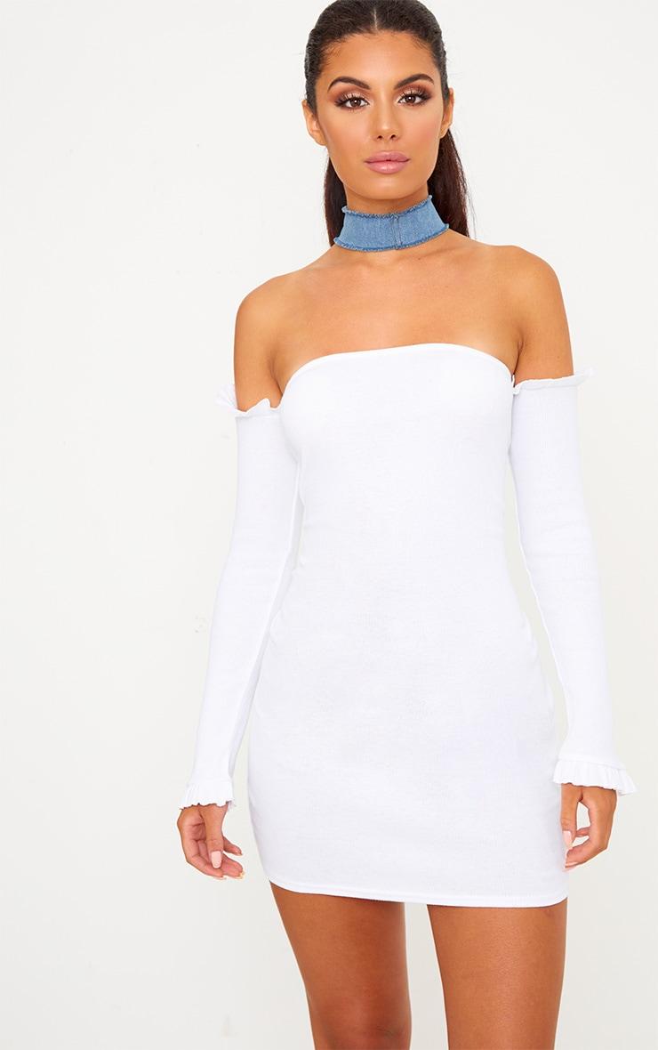 White Ribbed Frill Bardot Bodycon Dress  1