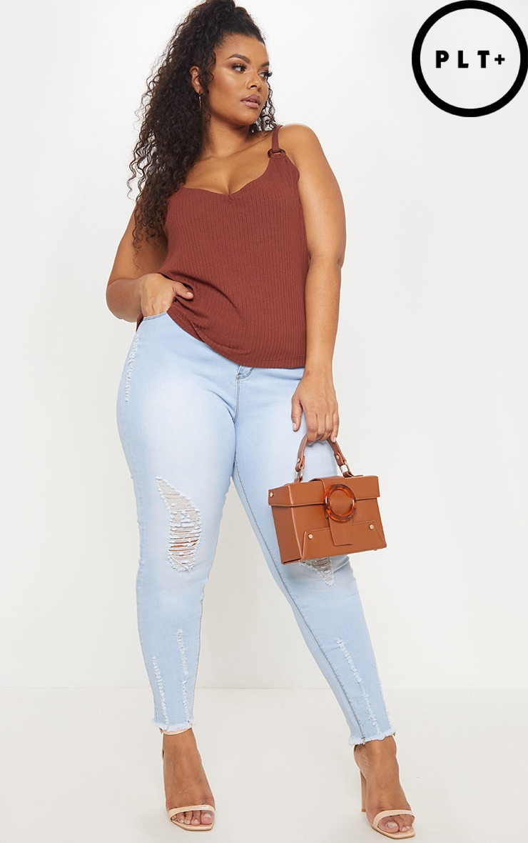 Plus Chocolate Brown Knit Tortoise Ring Cami Top 1